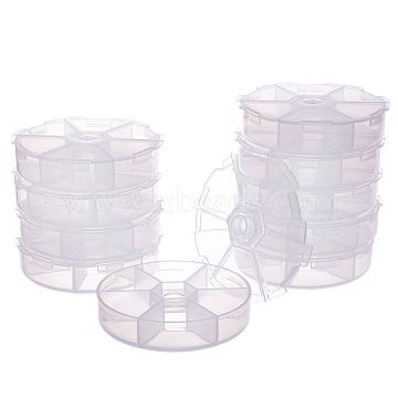 BENECREAT Plastic Bead Storage Containers, Round, Clear, 8x2cm(CON-BC0005-53)