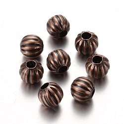Iron Spacer Beads, Nickel Free, Pumpkin, Red Copper, about 6mm in diameter, hole:2mm(X-E187Y-NFR)