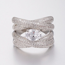 laiton micro pave anneaux de zircons cubiques, anneaux de large bande, taille 8, platine, 18 mm(RJEW-H122-22P-18mm)
