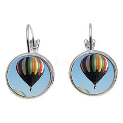 Dormeuses en laiton, avec vitre, rond plat avec motif ballon, argenterie, colorées, 28 mm; broches: 0.8 mm(EJEW-O088-44)