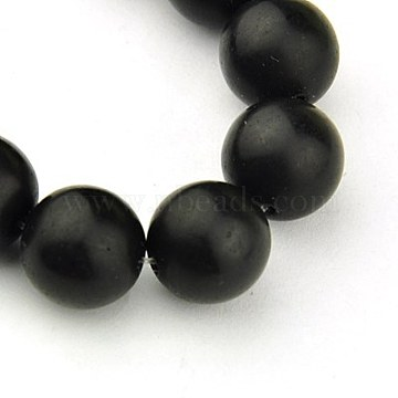Synthetic Black Stone Beads Strands, Frosted, Round, Black, 6mm, Hole: 1mm; about 64pcs/strand, 15.7inches(X-G-G508-6MM)