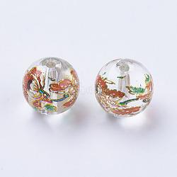 Fleur photo perles de verre imprimé, rond, clair, 10x9mm, Trou: 1.5mm(GLAA-E399-10mm-B01)