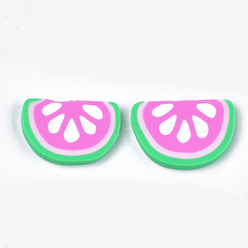 Handmade Polymer Clay Cabochons, Watermelon, Pearl Pink, 14~16x20~22x2~3mm(CLAY-S091-49)