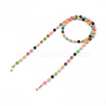 Eyeglasses Chains, Neck Strap for Eyeglasses, with Polymer Clay Beads, 304 Stainless Steel Lobster Claw Clasps and Rubber Loop Ends, Golden, Colorful, 31.1 inches(79cm)(AJEW-EH00219)