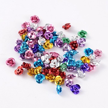 Aluminum Rose Flower, Tiny Metal Beads, Mixed Color, 8x6mm, Hole: 1mm; about 920~950pcs/bag(AF8mm00MY-LF)