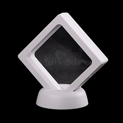 Plastic Frame Stands, with Transparent Membrane, For Ring, Pendant, Bracelet Jewelry Display, Rhombus, White, 9x9x5.5cm(X-ODIS-N010-02B)
