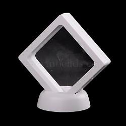 Supports de cadre en plastique, avec membrane transprent, Pour la bague, pendentif, affichage de bijoux de bracelet, losange, blanc, 9x9x5.5 cm(X-ODIS-N010-02B)