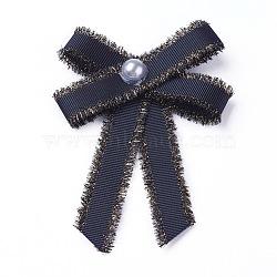 Broche en polyester, avec des perles de verre et du fer, bowknot, noir, 95~100x67~72mm(JEWB-I011-01B)
