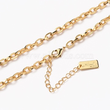 Brass Cable Chain Necklaces, with Lobster Claw Clasps, Long-Lasting Plated, Textured, Word Hand Made, Real 18K Gold Plated, 20-3/8 inches(51.8cm)(NJEW-H206-12G)