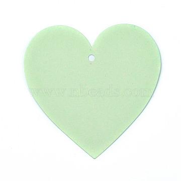 Blank Kraft Paper Card, Pearlized, DIY Bookmark Card, Heart, Pale Green, 10x10x0.03cm, Hole: 0.5cm(DIY-WH0143-07A-03)