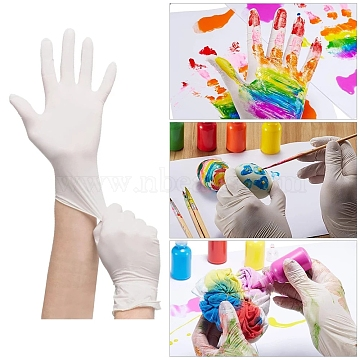 Craft Rubber Gloves, Latex Free, Powder Free, Universal Craft Work Finger Gloves, Light Yellow, Medium Size; 25x9cm(X-AJEW-E034-65M)