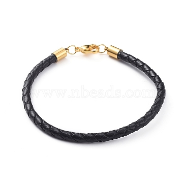 Braided Leather Bracelets Making, with 304 Stainless Steel Cord End Caps and Lobster Claw Clasps, Golden, 7-1/4 inches(18.5cm), 4mm(X-BJEW-JB04814-02)