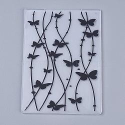 Tampon en plastique transparent transparent, pour scrapbooking bricolage / album photo décoratif, feuilles de timbres, papillon, noir, 14.6x10.5x0.3 cm(DIY-WH0110-04H)