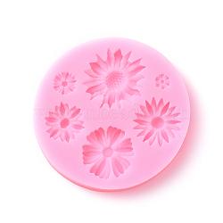 moules en silicone de qualité alimentaire, moules fondants, pour la décoration de gâteau de bricolage, chocolat, candy, savon, fabrication de bijoux en résine uv & résine époxy, plat et circulaire avec fleur, rose, 75x11 mm(DIY-E011-05)