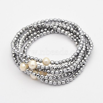 6 Loop Electroplate Non-Magnetic Synthetic Hematite Beaded Warp Bracelets, with Pearl Beads, Silver, 55mm(BJEW-D331-05)