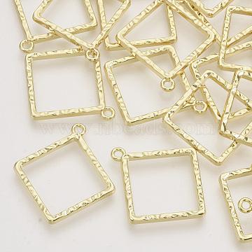 Rack Plating Alloy Open Back Bezel Pendants, For DIY UV Resin, Epoxy Resin, Pressed Flower Jewelry, Rhombus, Light Gold, 30x27x2mm, Hole: 1.8mm(X-PALLOY-N150-37)