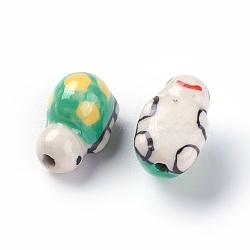 Perles de porcelaine imprimées manuelles, tortue, limegreen, 11~13x18~20x11~12mm, Trou: 2mm(PORC-E015-08B)