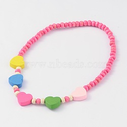 Lovely Heart Wood Beaded Kids Necklaces, PearlPink, 16inches(NJEW-JN01347-04)