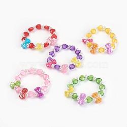 """Bracelets extensibles en perles acryliques pour enfants, bowknot & coeur & rond, couleur mixte, 1-5/8"""" (4.3 cm)(BJEW-JB03885)"""