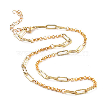Brass Paperclip & Rolo Chain Necklaces, with 304 Stainless Steel Lobster Claw Clasps, Golden, 16.34 inches(41.5cm)(NJEW-JN02916)