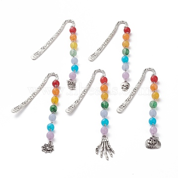 Tibetan Style Alloy Bookmarks for Halloween's Day, with Alloy Pendants and Chakras Theme Imitation Gemstone Acrylic Beads, Pumpkin & Spider & Owl & Skull Hand & Skull, Antique Silver, Colorful, 80x6.5x2.5mm, Pendants: 121.5~160x9~19mm(AJEW-JK00165)
