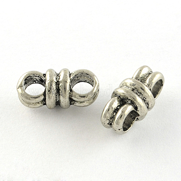 Tibetan Style Alloy Multi-Strand Links, Cadmium Free & Lead Free, Antique Silver, 6x12.5x7mm, Hole: 3mm(X-TIBE-Q047-18AS-RS)