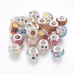 Perles européennes en alliage, avec des noyaux de cuivre, Perles avec un grand trou   , rondelle, argenterie, couleur mixte, 13x8mm, Trou: 4.8mm(RPDL-I001-M)