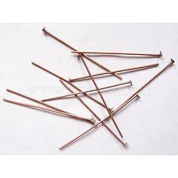 Épingles de tête en fer, sans nickel, couleur de cuivre rouge, Taille: environ 4.0 cm de long, épaisseur de 0.7mm, tête: 2 mm; environ 320 pcs / 50 g(X-HPR4.0cm-NF)