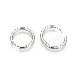 Créoles en 304 acier inoxydable, boucles d'oreilles huggie polies à la main, couleur inoxydable, intérieur: 8 mm, 13x2.5mm, pin: 1 mm(EJEW-P177-P-13)