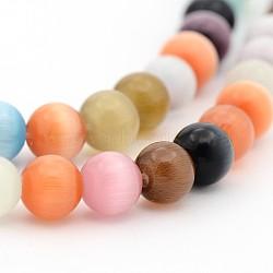 Perles d'oeil de chat, rond, colorées, 6mm, Trou: 1mm(X-CE004)