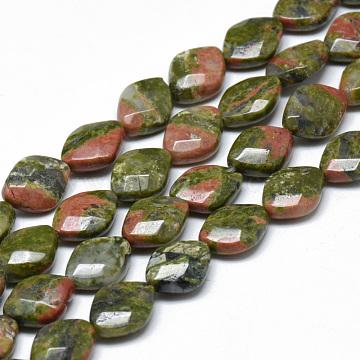 13mm Rhombus Unakite Beads