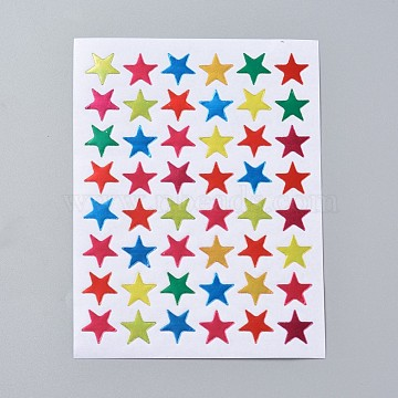Self Adhesive Labels Picture Stickers, Star, Colorful, 125x95mm; star: 13x13mm; about 48pcs/sheet, 10sheets/bag(AJEW-WH0079-A01-01)