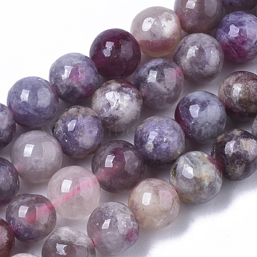 Natural Purple Red Tourmaline  Beads Strands, Round, 8mm, Hole: 1mm, about 50pcs/Strand, 15.47 inches(39.3cm)(G-N327-02B-01)