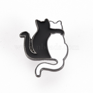 Alloy Enamel Brooches, Enamel Pins, with Brass Butterfly Clutches, Cat Shape, Cadmium Free & Nickel Free & Lead Free, Gunmetal, White & Black, 1x3/4 inch(24x19mm), Pin: 1mm(JEWB-S011-105-NR)