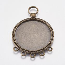 Тибетский стиль кабошон люстра ссылки сеттинги, без свинца и без никеля , плоско-круглые, античная бронза, 55x37x2 мм, отверстие : 2~7 мм, лоток : 31 мм(X-TIBEP-A22960-AB-FF)