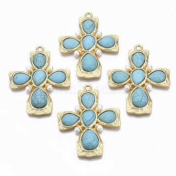 alliage gros pendentifs, avec perle synthétique turquoise et plastique ABS, sans cadmium et sans nickel et sans plomb, traverser, véritable 14 k plaqué or mat, 71x56x8 mm, trou: 3.6 mm(PALLOY-R113-029-NR)