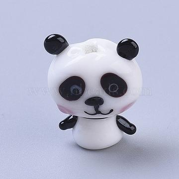 Handmade Lampwork Beads, Cartoon Panda, White & Black, 18.2x15x9mm, Hole: 1.8mm(X-LAMP-I020-13)