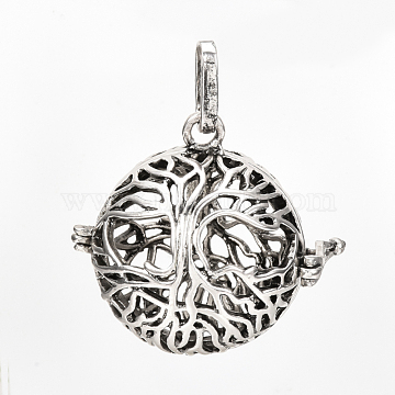 Brass Cage Pendants, For Chime Ball Pendant Necklaces Making, Hollow, Round with Tree of Life, Antique Silver, 29x29x24.5mm, Hole: 8x3mm; Inner Measure: 20mm(X-KK-S337-081)