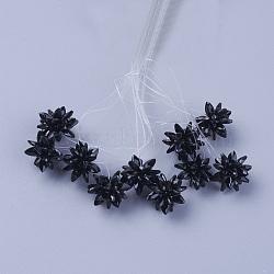 perles de verre tissées, fleur / sparkler, fait de charmes en oeil de cheval, noir, 13 mm(EGLA-L014-21S)