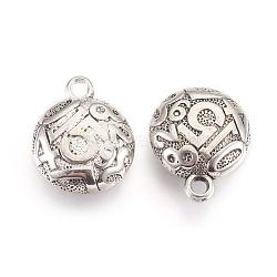 Пластмассовые подвески ccb, плоские круглые с номером, античное серебро, 27.5x22.5x9.5 мм, отверстие : 3 мм(CCB-O001-03AS)