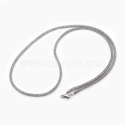 """Colliers à mailles en laiton, avec des perles de verre à l'intérieur, clair, platine, 25.6~26"""" (65~66 cm)(NJEW-F241-01B-B)"""