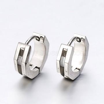 Fashionista Must-Have Unisex 304 Stainless Steel Huggie Hoop Earrings, Hypoallergenic Earrings, Stainless Steel Color, 13x13x4mm, Pin: 1mm(X-EJEW-G138-103P)