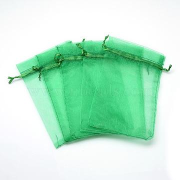Organza Bags, High Dense, Rectangle, SpringGreen, 9x7cm(X-OP-T001-7x9-22)