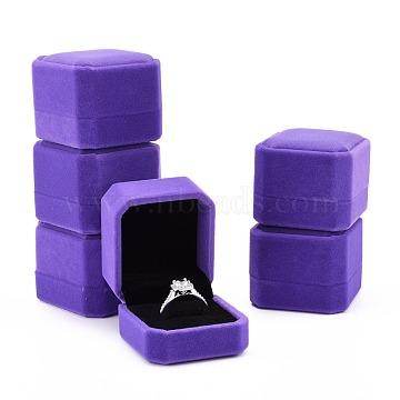 Velvet Ring Boxes, Rectangle, Lilac, 5.5x5x4.5cm(VBOX-Q055-08A)