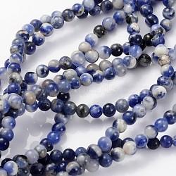 """Chapelets de perles en sodalite naturelle, rond, 4mm, trou: 0.8 mm; environ 89 pcs / brins, 15""""(X-GSR4mmC013)"""