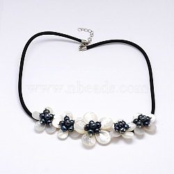 Flower Mother of Pearl Bib Statement Necklaces, with Pearl Beads and Brass Lobster Claw Clasps, Black, 18.5inches(NJEW-N0014-04C)