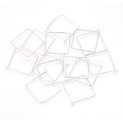 925 Sterling Silver Pendants, Square, Platinum, 36.5x34x0.8mm, Hole: 1.8mm(STER-P045-02P)