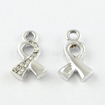 Awareness Ribbon Alloy Rhinestone Pendants, Platinum, 17x10x2mm, Hole: 2mm(X-PALLOY-L171-054)