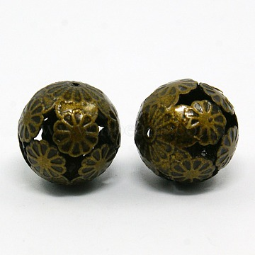 Iron Filigree Beads, Filigree Ball, Nickel Free, Round, Antique Bronze Color, Size: about 16mm in diameter, hole: 1mm(E215Y-NFAB)