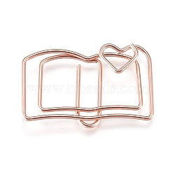 Book Shape Iron Paperclips, Cute Paper Clips, Funny Bookmark Marking Clips, Rose Gold, 19x30x3mm(X-TOOL-L008-022RG)